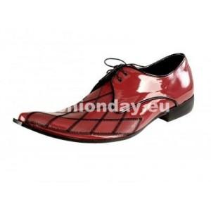 Pánske kožené extravagantné topánky lesklé červené