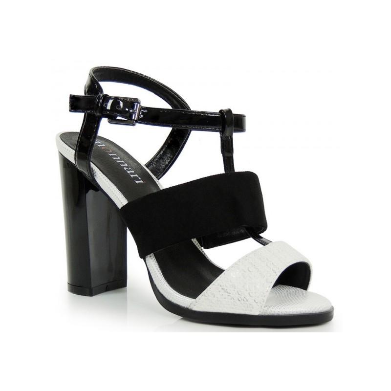 d61049be2a Čierno biele dámske sandále na vysokom podpätku - fashionday.eu