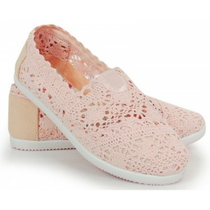Háčkované dámske espadrilky ružovej farby