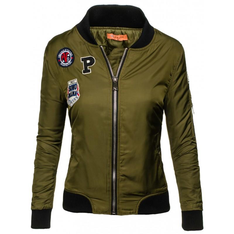 fda4905c70ce Štýlová dámska bombera khaki bez kapucne s nášivkami - fashionday.eu