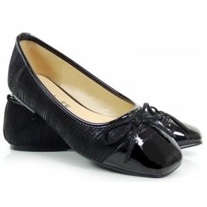 Čierne dámske balerínky s mašličkou