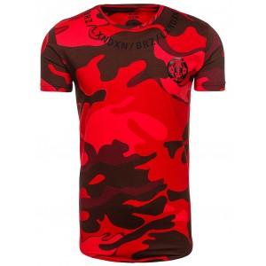 Červené pánske tričko s maskáčovým motívom
