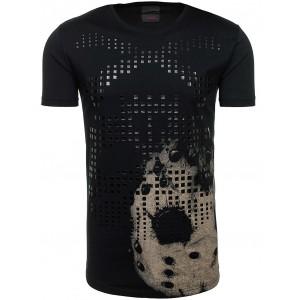 Bavlnené pánske tričko s potlačou čiernej farby