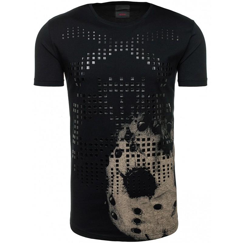 aa1ee67a633b Predchádzajúci. Bavlnené pánske tričko s potlačou čiernej farby ...