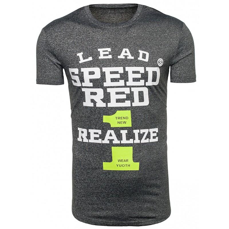 52a8fb739017 Pánske tričko tmavo sivej farby s nápisom SPEED RED - fashionday.eu