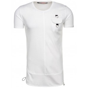 Bavlnené pánske tričká s vreckom bielej farby