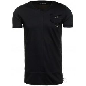 Čierne pánske tričko s vreckom na hrudi
