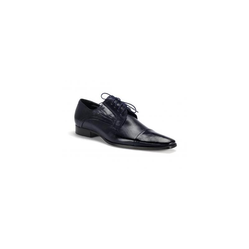 206cfff5a033 Spoločenské pánske kožené topánky COMODO E SANO tmavo modrej farby ...