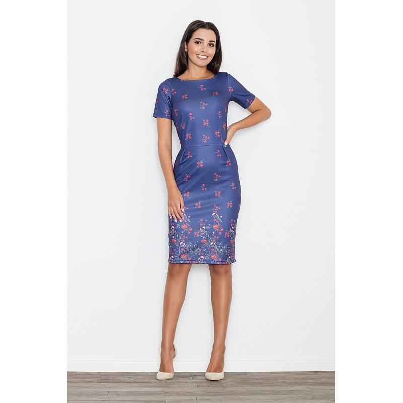 6f32f7f98 Tmavo modré elegantné dámske šaty s kvietkami - fashionday.eu