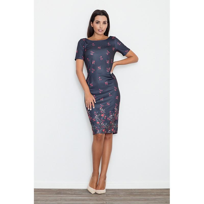 dc08fb19c172 Čierne dámske elegantné šaty s motívom kvetov - fashionday.eu
