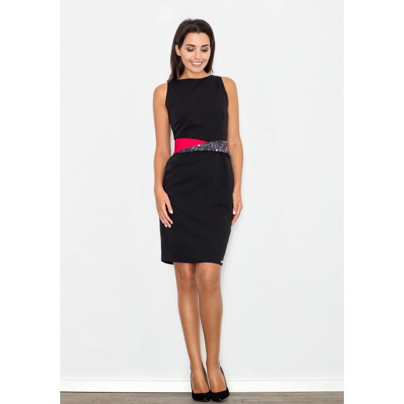 37c8b76601d4 Čierne elegantné dámske šaty s farebným opaskom - fashionday.eu
