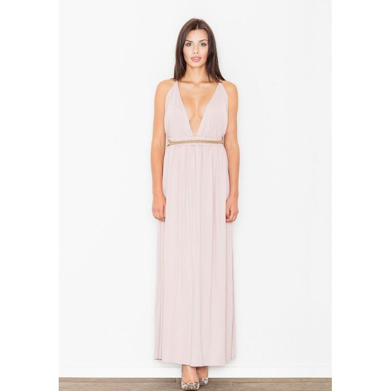 be87888af514 Svetlo ružové dlhé dámske šaty s hlbokým výstrihom - fashionday.eu