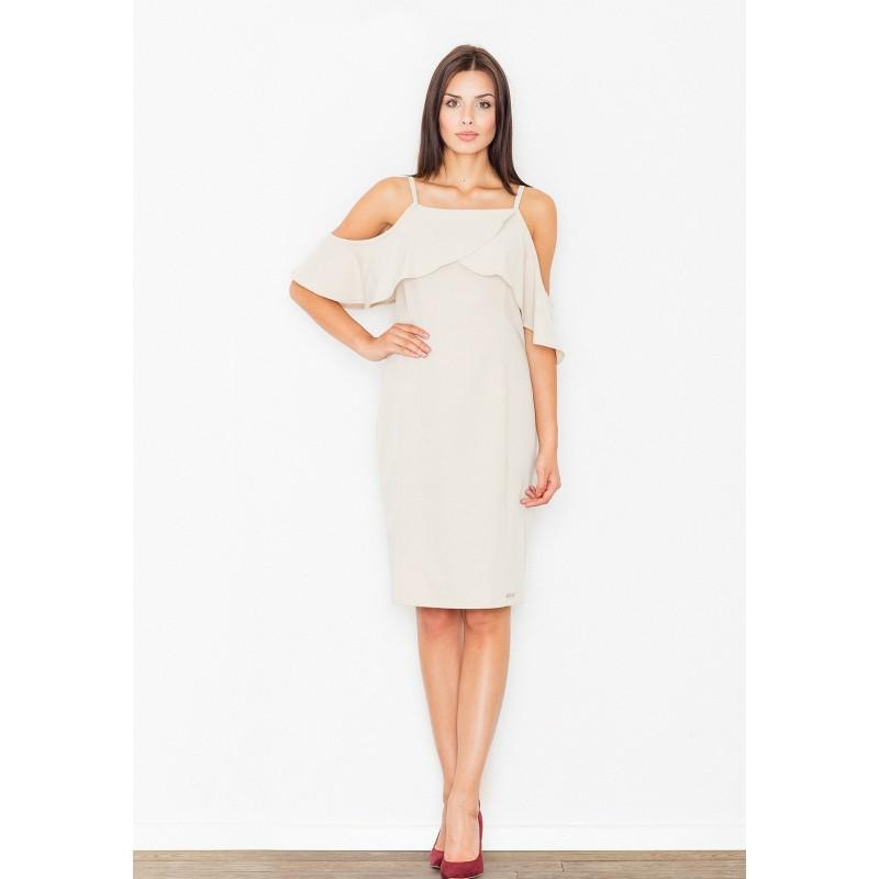 Béžové dámske šaty s padavými ramienkami - fashionday.eu 58bcea00e84