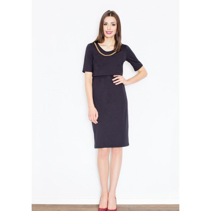 d423aa60f50c Čierne dámske šaty so zlatým náhrdelníkom - fashionday.eu