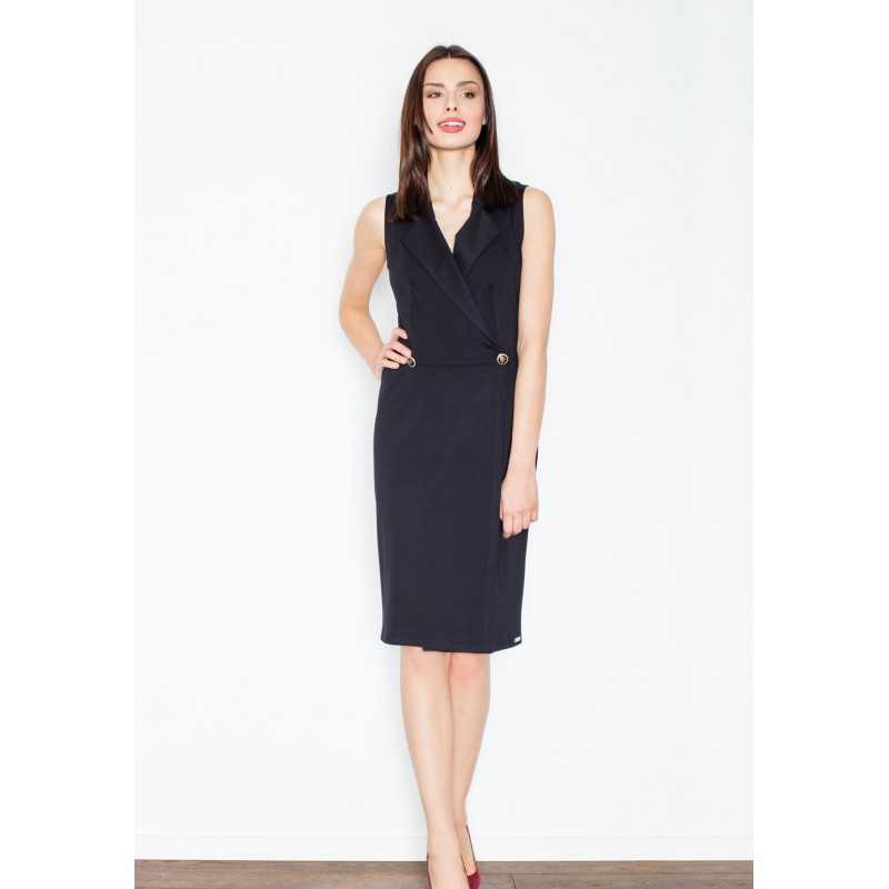 Štýlové dámske šaty v čiernej farbe s aplikáciou gombíka - fashionday.eu 6cca8d9ec9