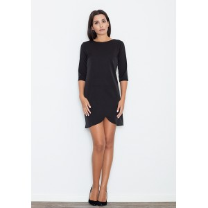 Krátke dámske čierne šaty s trojštvrťovým rukávom