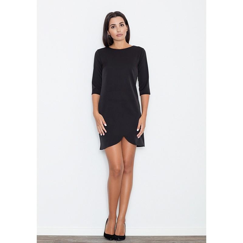 0d5138a35 Krátke dámske čierne šaty s trojštvrťovým rukávom - fashionday.eu