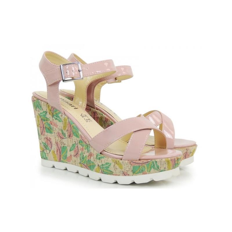 848b83358d Letné dámske sandále s klinovým opätkom v ružovej farbe - fashionday.eu