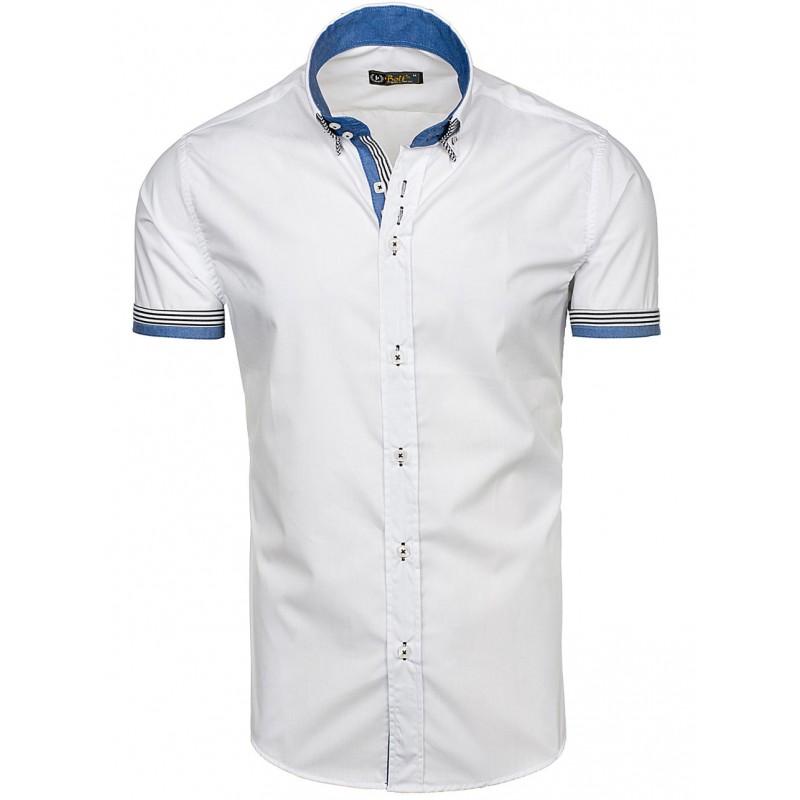 13d9682d0d47 Pánska košeľa s krátkym rukávom biela s lemovaním - fashionday.eu
