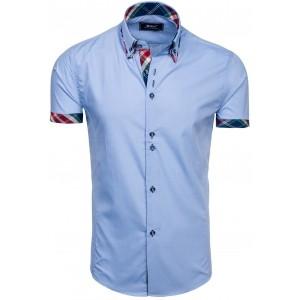 Elegantná košeľa s krátkym rukávom v svetlomodrej farbe