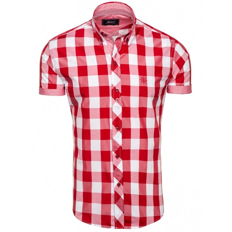 f0f76203aacb Kockovaná košeľa krátky rukáv červenej farby na každú príležitosť ...