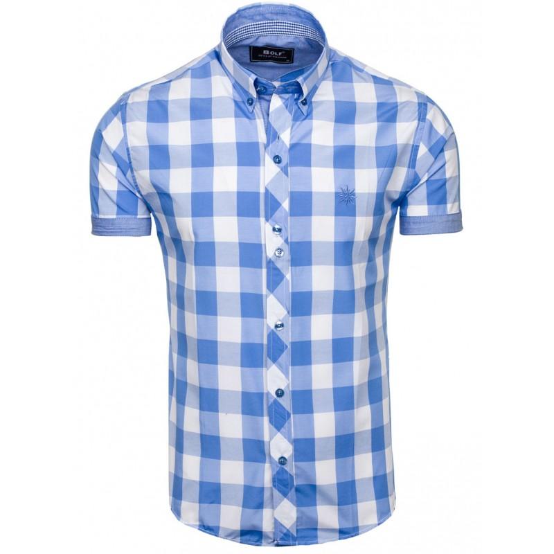 487fcfb2ff2c Košeľa s krátkym rukávom s kockami modrá - fashionday.eu