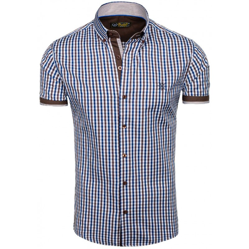 cf3e0c058ed7 Moderná pánska košeľa s krátkym rukávom v hnedo modrej farbe ...