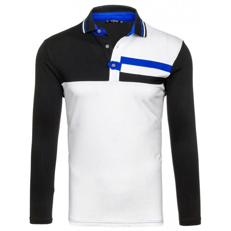 bcc3e09f5b00 Bielo čierne pánske polo tričko s golierom - fashionday.eu