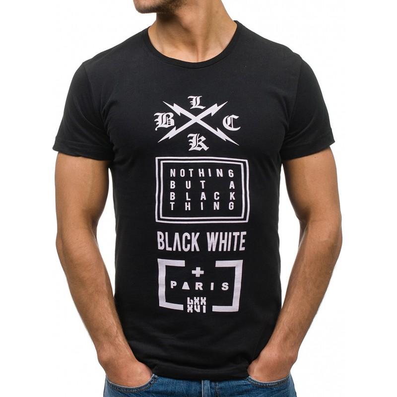 6eb6fea211f7 Predchádzajúci. Čierne pánske tričko s krátkym rukávom ...
