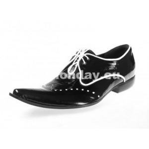 Pánske kožené extravagantné topánky lesklé čierne