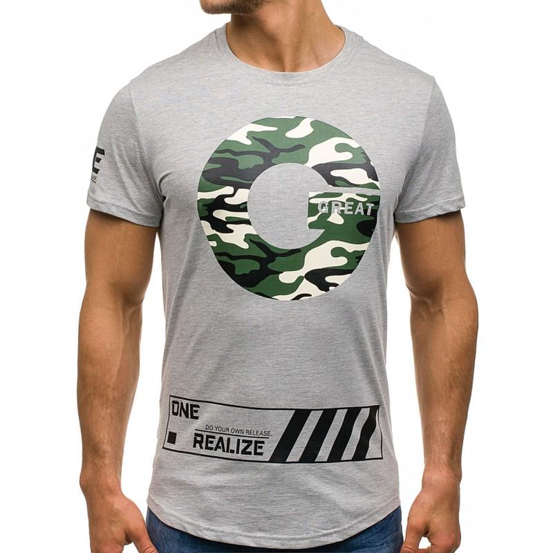 4057185a1 Sivé pánske tričko s krátkym rukávom s okrúhlym výstrihom ...
