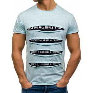 Pánske bavlnené tričko s potrhaným efektom v modrej farbe