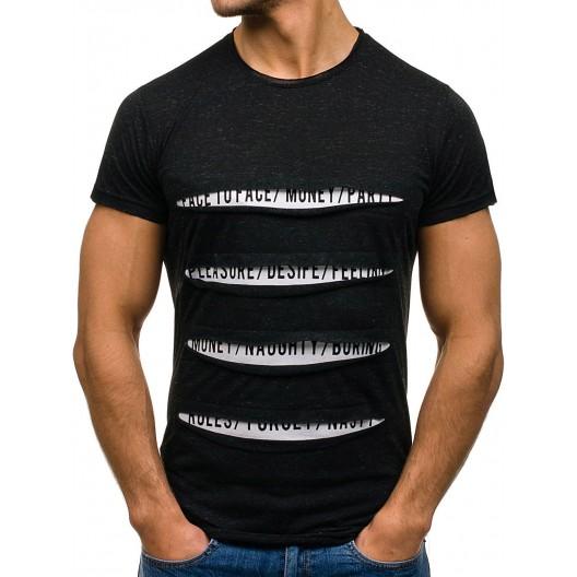 Štýlové pánske tričko s krátkym rukávom čiernej farby