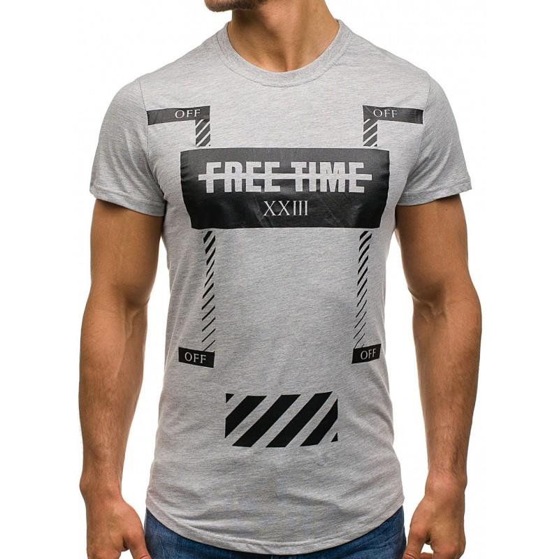 296a3728903e Pánske tričká s krátkym rukávom sivej farby s nápisom vzadu ...