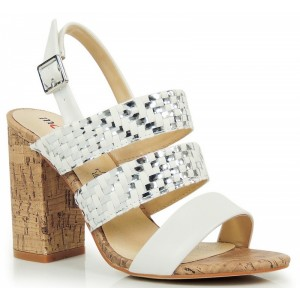Bielo strieborné dámske sandále na podpätku