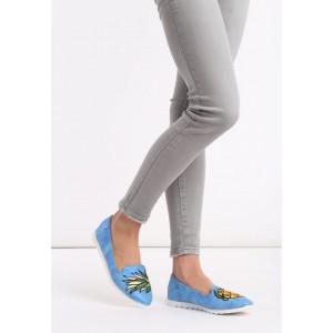 Semišové dámske poltopánky v modrej farbe