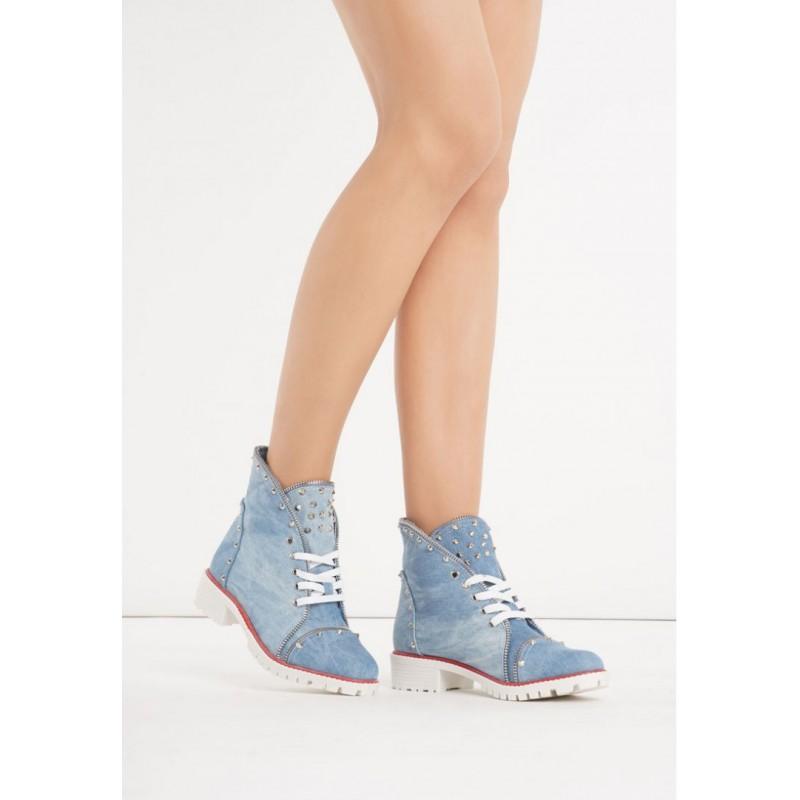 41934cf762 Riflové dámske kotníkové topánky modré - fashionday.eu