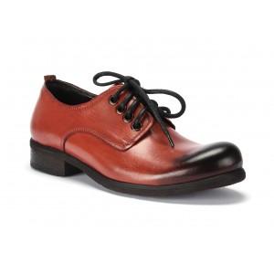Kožené topánky hnedo oranžovej farby na šnurovanie pre pánov COMODO E SANO