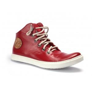 Pánske kožené topánky so šnúrkami červenej farby COMODO E SANO