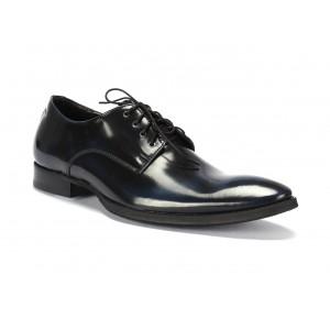Pánske kožené elegantné topánky COMODO E SANO čierno modrej farby