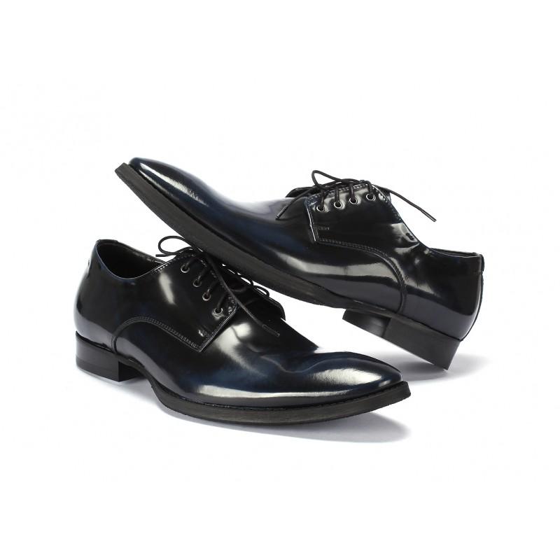 Pánske kožené elegantné topánky COMODO E SANO čierno modrej farby ... 7c928bdf53e