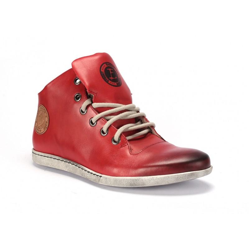 Pánske kožené červené topánky na šnurovanie COMODO E SANO ... 0993dee6690