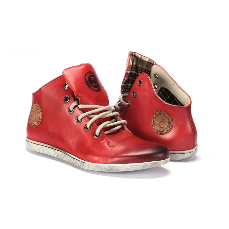 508ff6dfaffa Pánske kožené červené topánky na šnurovanie COMODO E SANO ...