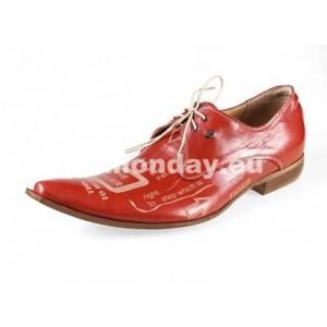 Pánske kožené extravagantné topánky červené
