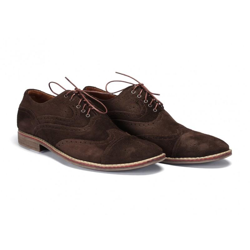 Hnedé prešívané kožené topánky na šnurovanie COMODO E SANO ... e69fb53fb8a