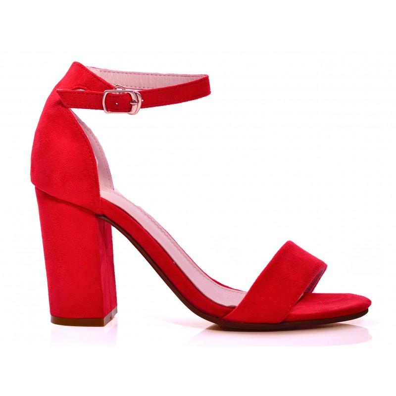 4426e019313e Červené dámske sandále so zapínaním okolo členka - fashionday.eu