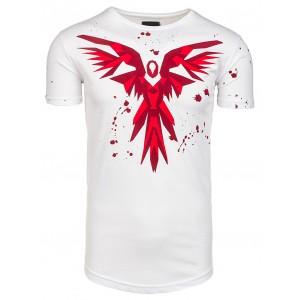 Biele pánske tričko s motívom vtáka