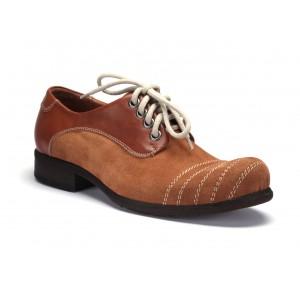COMODO E SANO pánske kožené topánky hnedej farby
