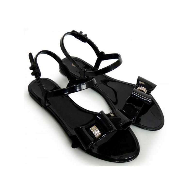 284084090195 Čierne dámske sandále na nízkej podrážke s mašľou - fashionday.eu