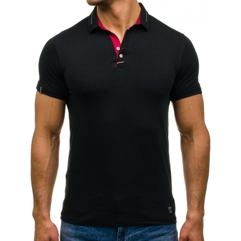b28cdafa8d3e Čierne pánske polo tričká s krátkym rukávom - fashionday.eu
